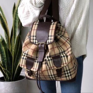 Large vintage Burberry haymarket leather backpack